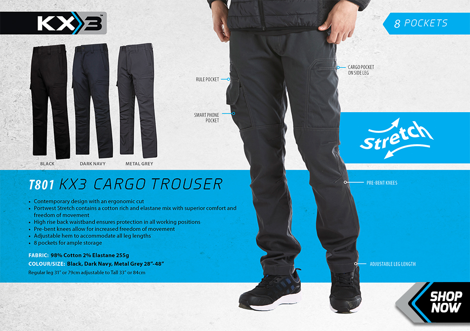 Portwest T801 KX3 Stretch Cargo Trousers