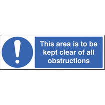 This Area To Be Kept Clear Of All Obstructions (Rigid Plastic,300 X 100mm)