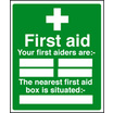 First Aiders/nearest Box (Rigid Plastic,300 X 250mm)