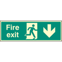 Fire Exit - Down (Rigid Plastic,450 X 150mm)