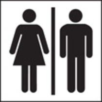 Unisex Toilet Symbol (Rigid Plastic,150 X 150mm)