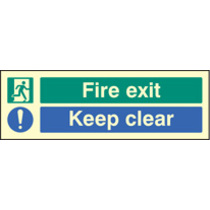 Fire Exit Keep Clear (photo. Self Adhesive Vinyl,300 X 100mm)