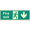 Fire Exit - Down (Rigid Plastic,600 X 200mm)
