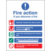 Fire Action Manual Dial Without Lift (Self Adhesive Vinyl,300 X 250mm) (21420H)