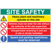 Site Safety - Heavy Plant And Machinery (Rigid Plastic,900 X 600mm)