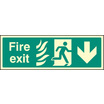 Fire Exit - Arrow Down Htm (Rigid Plastic,300 X 100mm)