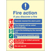 Fire Action Auto Dial With Lift (Self Adhesive Vinyl,200 X 150mm) (21428E)