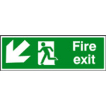 Fire Exit Down Left (photo. Rigid Plastic,300 X 100mm)