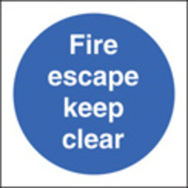 Fire Escape Keep Clear (Self Adhesive Vinyl,200 X 200mm) (21605F)