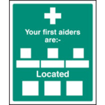Your First Aiders Are (Self Adhesive Vinyl,300 X 250mm)