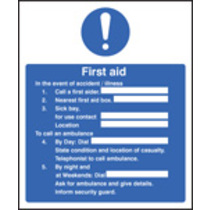 First Aid/accident/illness (Self Adhesive Vinyl,300 X 250mm)
