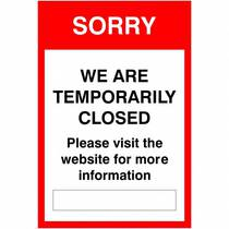 VCC.54F Sorry We Are Temporarily Closed - 200MM x 300MM