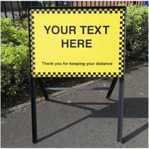 VCC.454 Road Sign C/W Frame - Your Text Here - Thank You For Keeping Your Distance - 600MM x 450MM