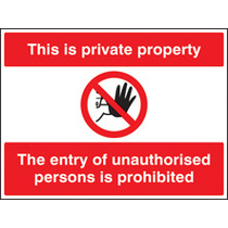 This Is Private Property, The Entry Etc (Rigid Plastic,600 X 450mm)