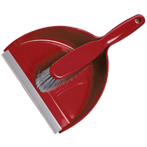 Hygienic Dustpan & Soft Brush Set - Red
