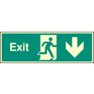 Exit - Down (Rigid Plastic,300 X 100mm)