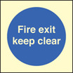 Fire Exit Keep Clear (photo) (photo. Self Adhesive Vinyl,200 X 200mm)