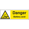 Danger - Battery Acid (Rigid Plastic,600 X 200mm)