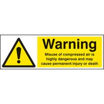 Caution Misuse Of Compressed Air (Rigid Plastic,300 X 100mm)