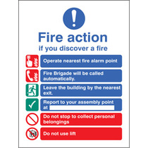 Fire Action Auto Dial With Lift (Rigid Plastic,300 X 250mm)