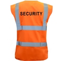 Pre-Printed SECURITY Orange Hi-Vis Waistcoat