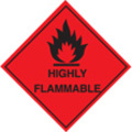 100 S/a Labels 100x100 Highly Flammable