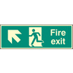 Fire Exit Up & Left (Self Adhesive Vinyl,300 X 100mm) (22001G)