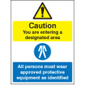 Designated Area, All Persons Must Wear (Self Adhesive Vinyl,200 X 150mm)