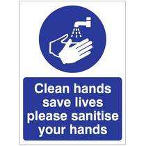 HYB.12W Clean Hands Save Lives Please Sanitiser 150MM x 200MM