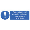 Approved Personal Protective Equipment (Self Adhesive Vinyl,300 X 100mm)