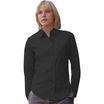 65012 Ladies Long Sleeve Black Poplin Shirt