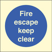 Fire Escape Keep Clear (Rigid Plastic,200 X 200mm)