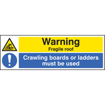 Warning, Fragile Roof Crawling Boards (Rigid Plastic,300 X 100mm)
