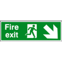 Fire Exit - Down & Right (Self Adhesive Vinyl,450 X 150mm) (22006L) (22006L)