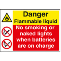 Highly Flammable/batteries On Charge (Rigid Plastic,400 X 300mm)