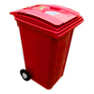 240L Red 2-Wheeld Bin