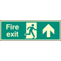 Fire Exit - Straight On (Self Adhesive Vinyl,450 X 150mm) (22007L) (22007L)