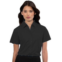 933F Ladies Short Sleeve Black Blouse