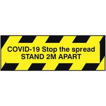 VCC.21E Covid-19 Stop The Spread Stand 2M Apart - 1MM x 300MM x 100MM (Rigid Plastic) - Pack Of 5