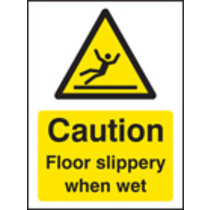 Caution Floor Slippery When Wet (Rigid Plastic,100 X 75mm)