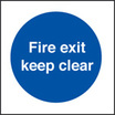 Fire Exit Keep Clear (photo. Rigid Plastic,80 X 80mm)