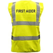 Pre-Printed FIRST AIDER Saturn Yellow Hi-Vis Waistcoat