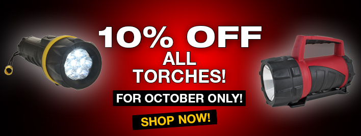 10% OFF All Torches this October!