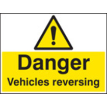 Danger Vehicle Reversing (Rigid Plastic,600 X 200mm)