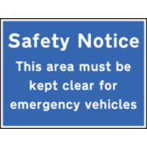 Safety Notice - Area Must Be Kept Clear (Rigid Plastic,600 X 450mm)