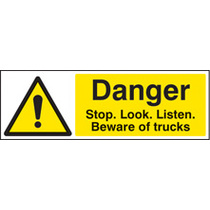 Danger, Stop, Look, Listen - T (Self Adhesive Vinyl,300 X 100mm)