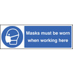 Masks Must Be Worn When Working Here (Rigid Plastic,600 X 200mm)