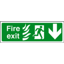 Fire Exit Down Photo Htm (photo. Rigid Plastic,300 X 100mm)