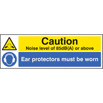 Noise Level 85db(a) Ear Protectors Worn (Self Adhesive Vinyl,600 X 200mm)