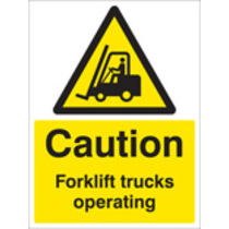 Caution Forklift Trucks Operating (Self Adhesive Vinyl,400 X 300mm)